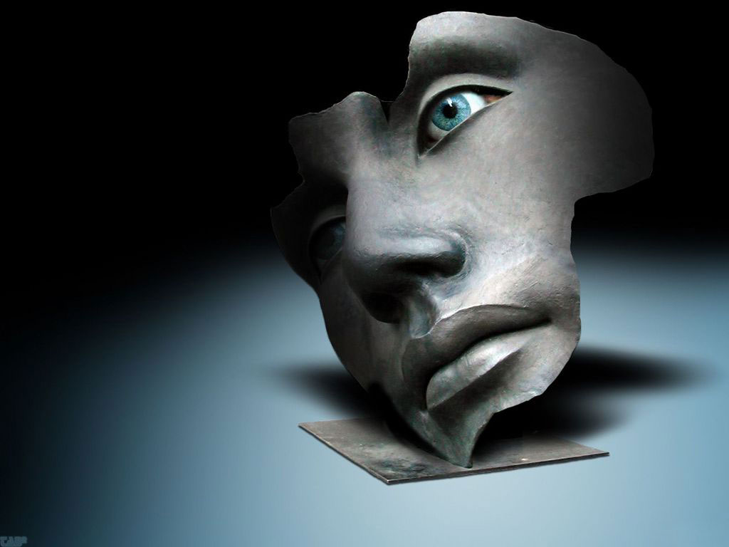Com uma máscara em uma cara branca